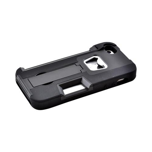 Apple iPhone 5/5S Silicone Over Hard Case w/ Bottle Opener  ID Holder & Stand - Black