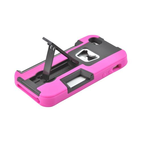 Apple iPhone SE / 5 / 5S  Case,  [Hot Pink/ Black]  Silicone Over Hard Case w/ Bottle Opener w/ ID Holder & Stand