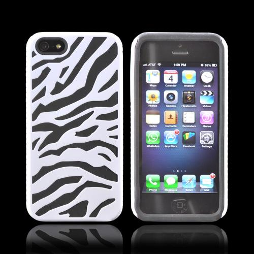 Apple iPhone SE / 5 / 5S  Case,  [White/ Black Zebra]  Zebra Shell on Silicone Case