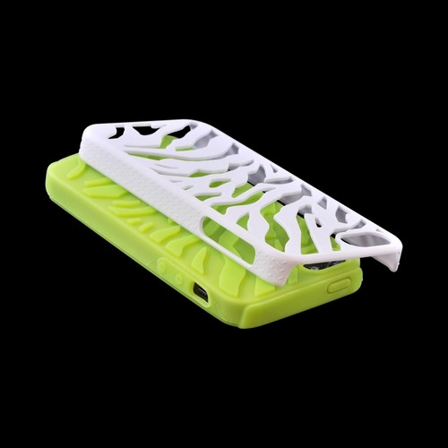 Apple iPhone SE / 5 / 5S  Case,  [White/ Green]  Zebra Shell on Silicone Case
