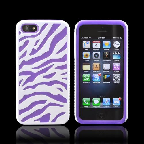 Apple iPhone SE / 5 / 5S  Case,  [White/ Purple Zebra]  Zebra Shell on Silicone Case