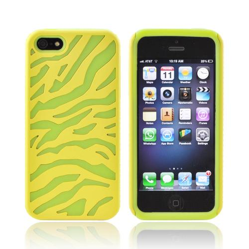 Apple iPhone SE / 5 / 5S  Case,  [Yellow/ Green]  Zebra Shell on Silicone Case