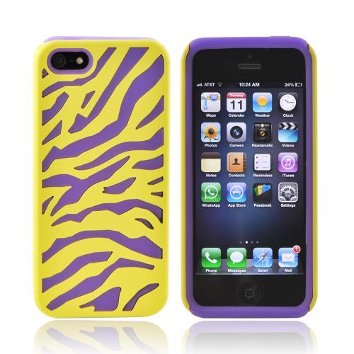 Apple iPhone SE / 5 / 5S  Case,  [Yellow/ Purple]  Zebra Shell on Silicone Case