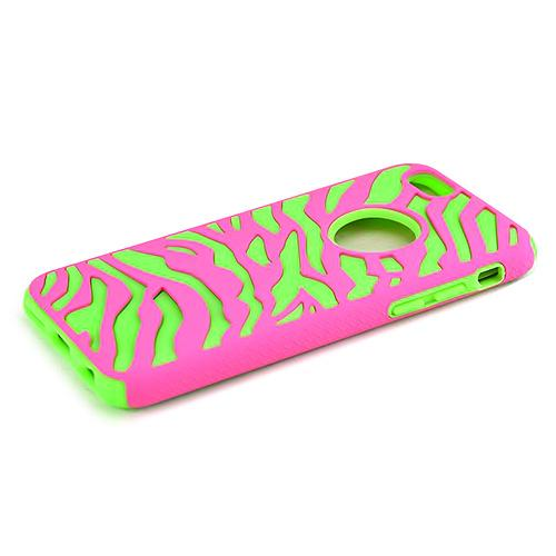 Apple iPhone 6/ 6S Case,  [Hot Pink/ Neon] Dual Layer Slim & Flexible Anti-shock Crystal Silicone Protective TPU Gel Skin Case Cover