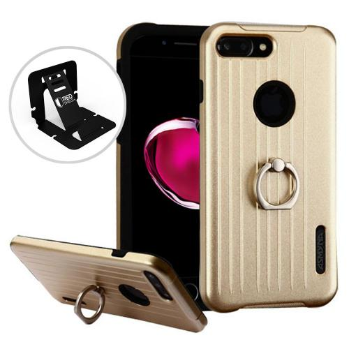 Apple iPhone 7 Plus (5.5 inch) Case, Hybrid Dual Layer Hard Case on Silcone Skin w/ Metal Ring Stand [Gold/ Black]