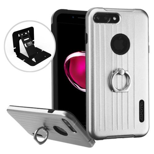 Apple iPhone 7 Plus (5.5 inch) Case, Hybrid Dual Layer Hard Case on Silcone Skin w/ Metal Ring Stand [Silver/ Black]