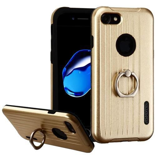 Apple iPhone 7 (4.7 inch) Case, Hybrid Dual Layer Hard Case on Silcone Skin w/ Metal Ring Stand [Gold/ Black]