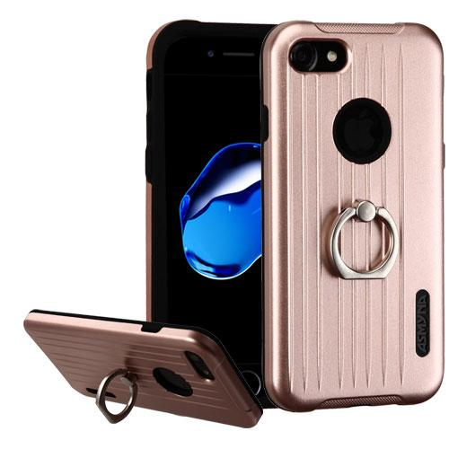 Apple iPhone 7 (4.7 inch) Case, Hybrid Dual Layer Hard Case on Silcone Skin w/ Metal Ring Stand [Rose Gold/ Black]