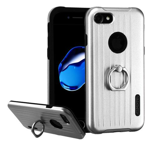 [Apple iPhone 7] (4.7 inch) Case, Hybrid Dual Layer Hard Case on Silcone Skin w/ Metal Ring Stand [Silver/ Black]