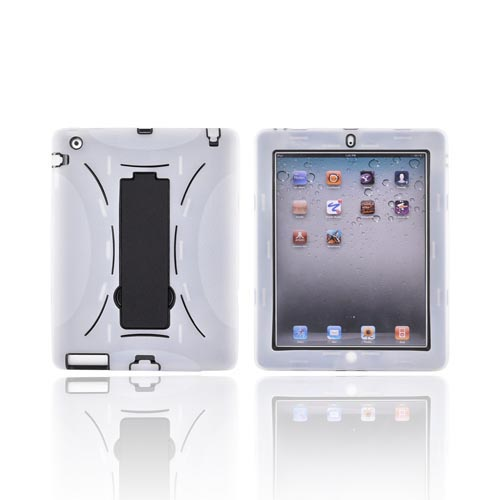 Apple iPad 2 Silicone Over Hard Case w/ Stand - Frost White/ Black