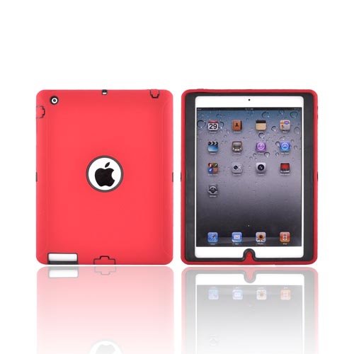 Apple iPad 2 Silicone Over Hard Case - Red/ Black