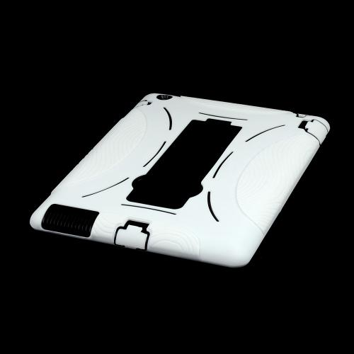 White Silicone on White Hard Case w/ Stand for Apple iPad (2nd, 3rd & 4th Gen.)