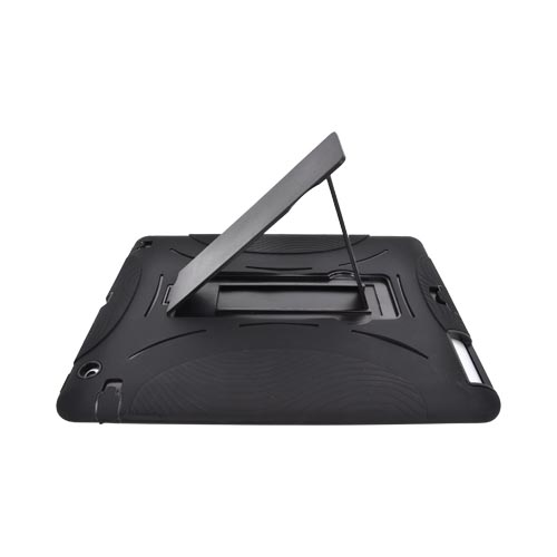 Black Apple iPad 2/3 Silicone Over Hard Case w/ Stand