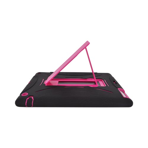 Apple New iPad Silicone Over Hard Case w/ Stand - Black/ Pink
