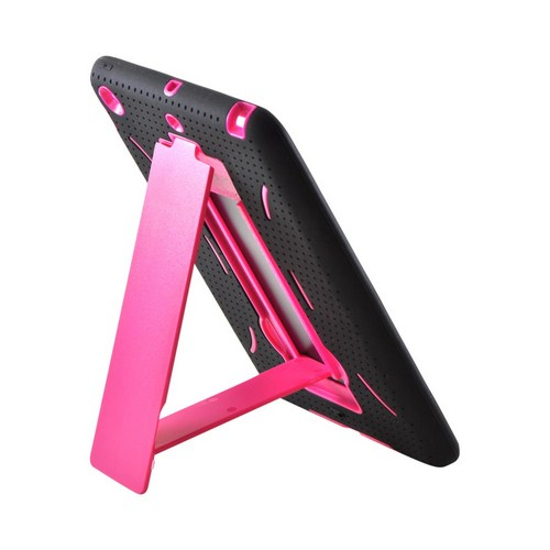 Apple iPad Mini Silicone Over Hard Case w/ Vertical Stand - Black/ Hot Pink