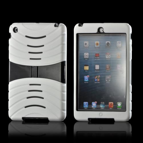 White Silicone on Black Hard Case w/ Horizontal Stand for Apple iPad Mini