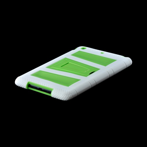 White/ Neon Green Silicone Over Hard Case w/ Locking Stand & Hand Grips for Apple iPad Mini