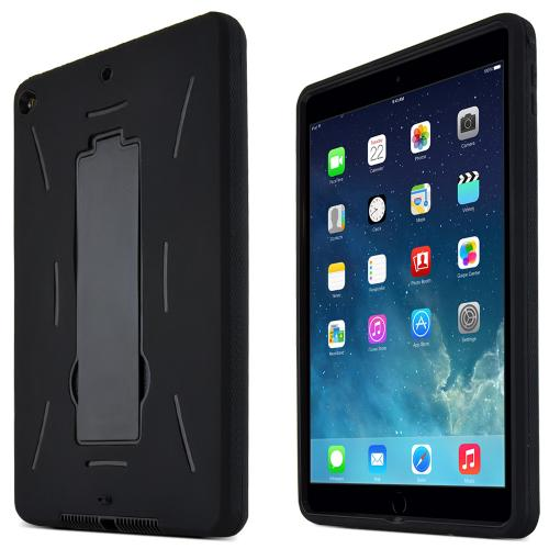 Black Apple iPad Air 2 Silicone Skin Case on Hard Cover Case w/ Kickstand