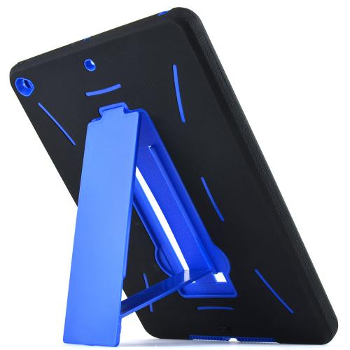 Blue/ Black Apple iPad Air 2 Silicone Skin Case on Hard Cover Case w/ Kickstand