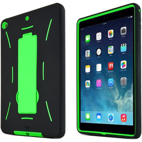 Neon Green/ Black Apple iPad Air 2 Silicone Skin Case on Hard Cover Case w/ Kickstand