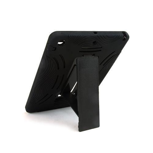 Black Silicone Skin on Black Hard Case w/ Kickstand for Apple iPad Air