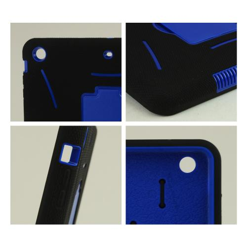 Black Silicone Skin on Blue Hard Case w/ Kickstand for Apple iPad Air