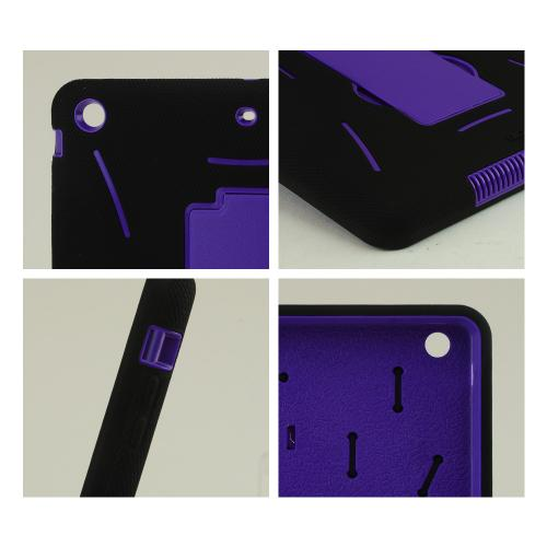 Black Silicone Skin on Purple Hard Case w/ Kickstand for Apple iPad Air