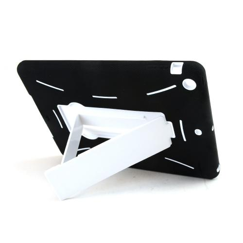 Black Silicone Skin on White Hard Case w/ Kickstand for Apple iPad Air