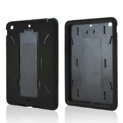 Black Silicone Skin Case on Black Hard Case w/ Kickstand for Apple iPad Mini 2/3