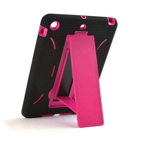 Black Silicone Skin Case on Hot Pink Hard Case w/ Kickstand for Apple iPad Mini 2/3
