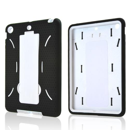Black Silicone Skin Case on White Hard Case w/ Kickstand for Apple iPad Mini 2/3