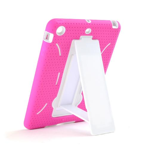 Hot Pink Silicone Skin Case on White Hard Case for Apple iPad Mini 2