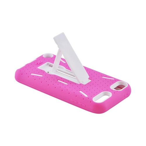 Apple iPod Touch 5 Silicone Over Hard Case w/ Kickstand - Hot Pink/ White