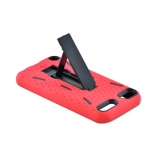 Apple iPod Touch 5 Silicone Over Hard Case w/ Kickstand - Red/ Black
