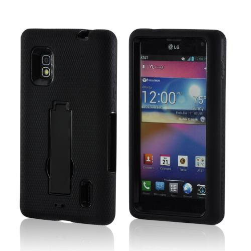 Black Silicone on Black Hard Case w/ Kickstand for LG Optimus G (AT&T)