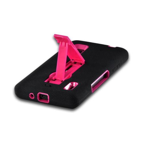 Black Silicone on Hot Pink Hard Case w/ Kickstand for LG Optimus G (AT&T)
