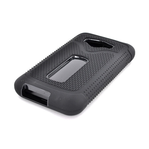 LG Optimus Elite Textured Silicone Over Hard Case - Black