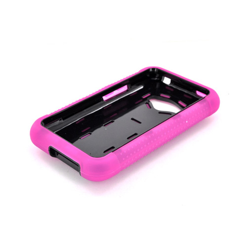 LG Optimus Elite Textured Silicone Over Hard Case - Pink/ Black