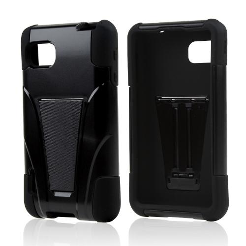 Black Hard Case on Black Silicone w/ Kickstand for LG Optimus F3