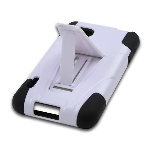 White Hard Case on Black Silicone w/ Kickstand for LG Optimus F3