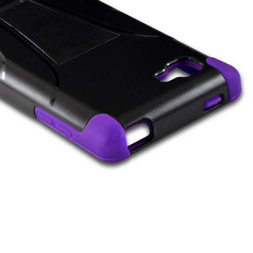 Purple on Black Silicone Over Hard Case w/ Stand for LG Optimus G (Sprint)
