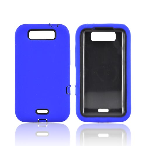 LG Viper 4G LTE/ LG Connect 4G Silicone Over Hard Case - Blue/ Black