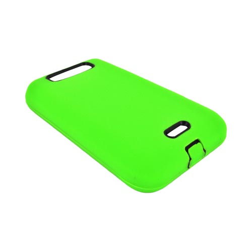 LG Viper 4G LTE/ LG Connect 4G Silicone Over Hard Case - Neon Green/ Black