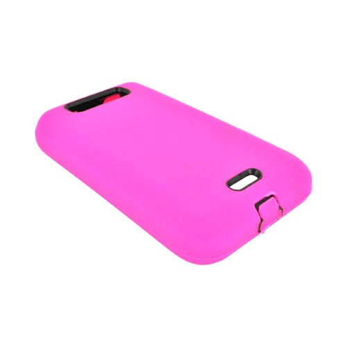 LG Viper 4G LTE/ LG Connect 4G Silicone Over Hard Case - Hot Pink/ Black