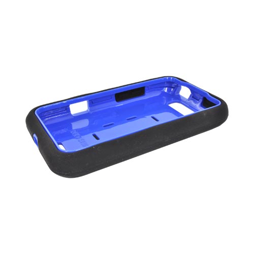 LG Viper 4G LTE/ LG Connect 4G Silicone Over Hard Case w/ Screen Protector - Black/ Blue