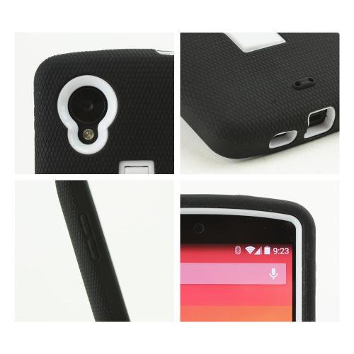 Black Silicone Skin on White Hard Case w/ Kickstand for LG Google Nexus 5
