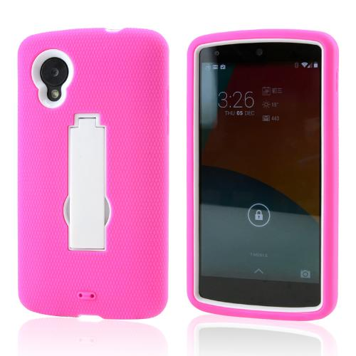 Hot Pink Silicone Skin White Hard Case w/ Kickstand for LG Google Nexus 5