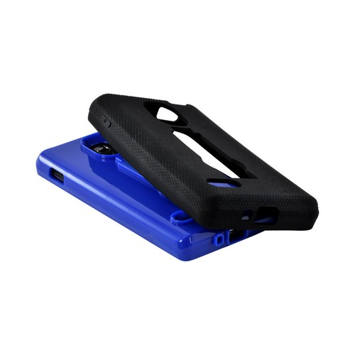 Black on Blue Silicone Over Hard Case w/ Stand for LG Optimus L9