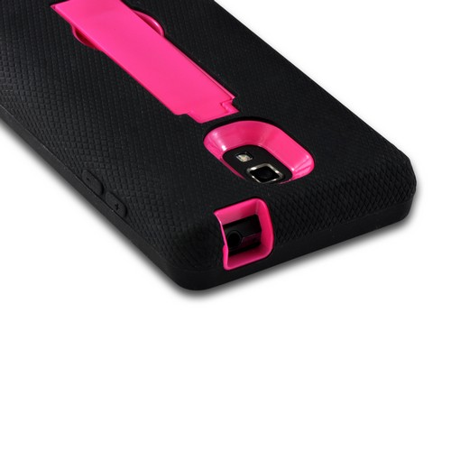 Black on Hot Pink Silicone Over Hard Case w/ Stand for LG Optimus L9