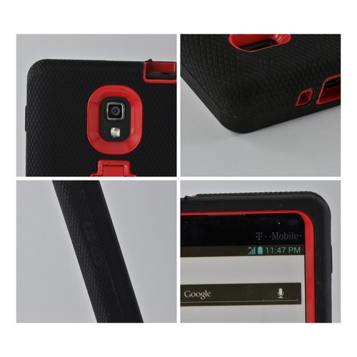 Black on Red Silicone Over Hard Case w/ Stand for LG Optimus L9